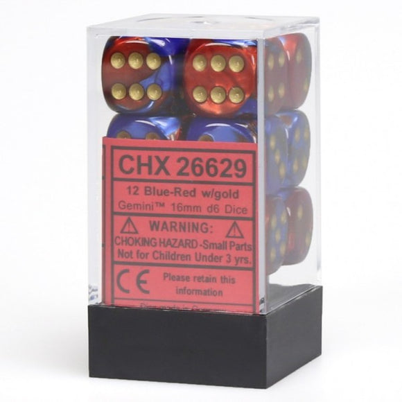 Chessex Dice: Gemini - 16mm D6 Blue Red/Gold (12)