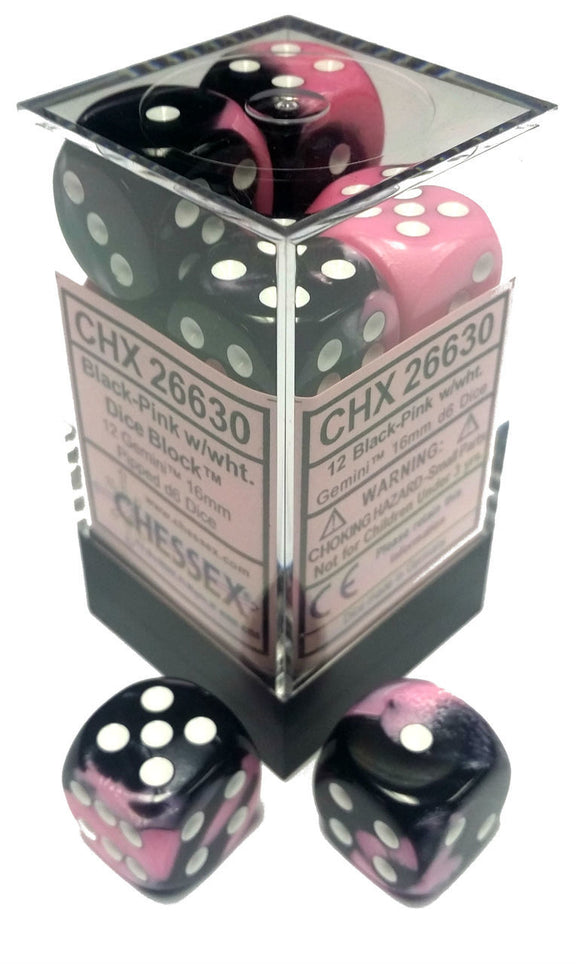 Chessex Dice: Gemini - 16mm D6 Black Pink/White (12)