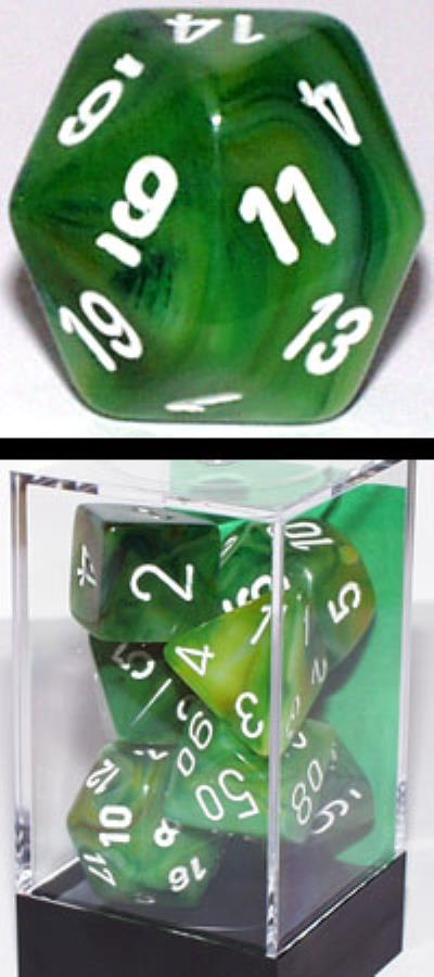 Chessex Dice: Phantom Polyhedral Set Green/White (7)