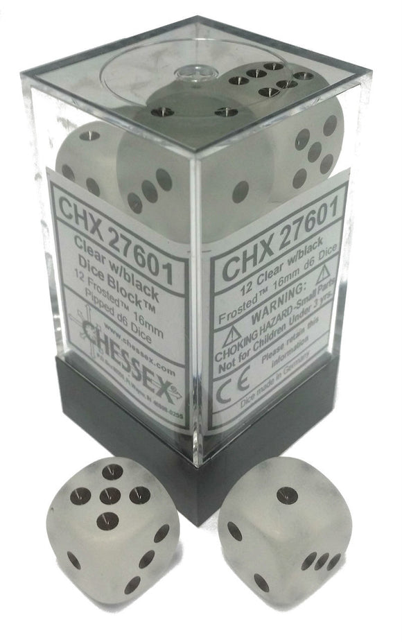 Chessex Dice: Frosted - 16mm D6 Clear/Black (12)
