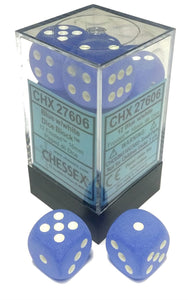 Chessex Dice: Frosted - 16mm D6 Blue/White (12)