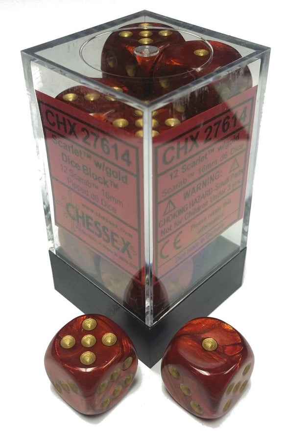 Chessex Dice: Chessex Dice: Scarab - - 16mm D6 Scarlet/Gold (12)