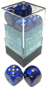 Chessex Dice: Vortex - 16mm D6 Blue/Gold/Black (12)