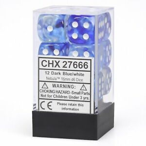 Chessex Dice: Nebula - 16mm D6 Drk Blue/White/Black (12)