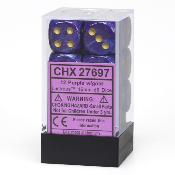 Chessex Dice: Lustrous - 16mm D6 Purple/Gold/Black (12)