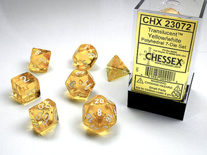Chessex Dice: Translucent Polyhedral Set Yellow/White (7)