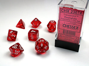 Chessex Dice: Translucent Polyhedral Set Red/White (7)