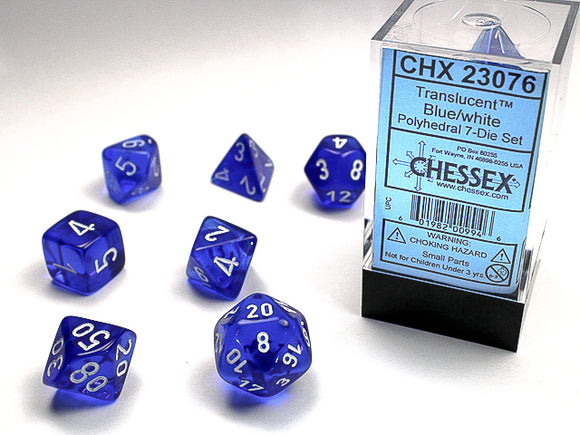 Chessex Dice: Translucent Polyhedral Set Blue/White (7)