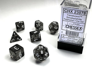 Chessex Dice: Translucent Polyhedral Set - Smoke/White (7)