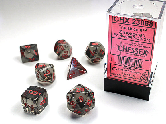 Chessex Dice: Translucent Polyhedral Set Smoke/Red (7)