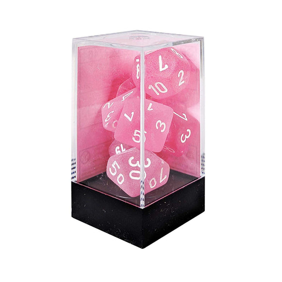 Chessex Dice: Frosted Polyhedral Set Pink/White (7)