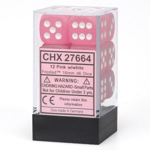 Chessex Dice: Frosted - 16mm D6 Pink/White Block (12)
