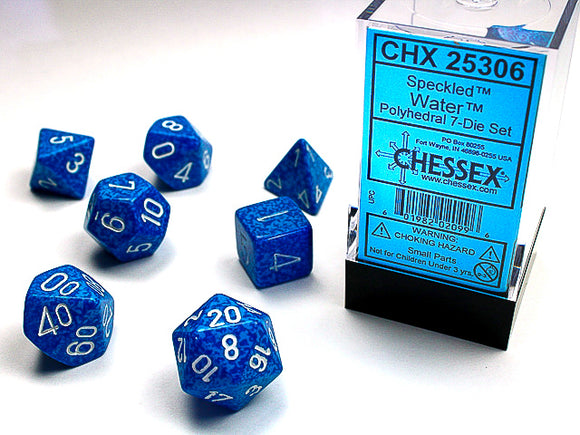 Chessex Dice: Speckled Polyhedral Set Water (7)