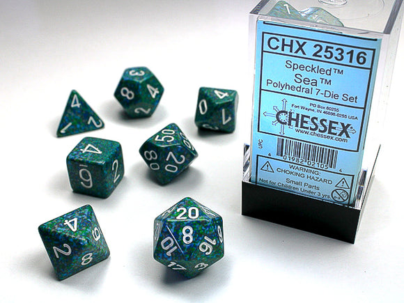 Chessex Dice: Speckled Polyhedral Set Sea (7)