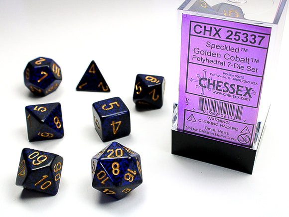 Chessex Dice: Speckled Polyhedral Set Golden Cobalt (7)