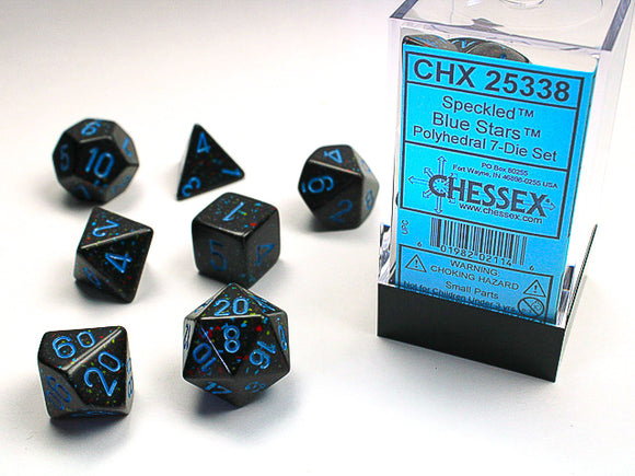 Chessex Dice: Speckled Polyhedral Set Blue Stars (7)