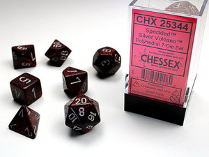 Chessex Dice: Speckled Polyhedral Set Silver Volcano (7)
