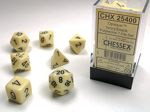 Chessex Dice: Opaque Polyhedral Set Ivory/Black (7)