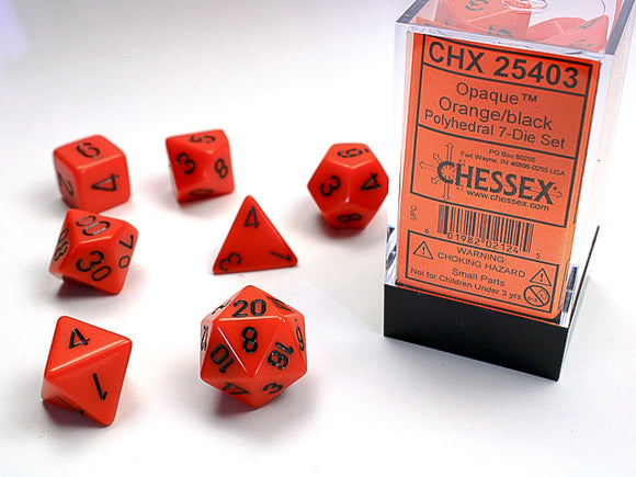 Chessex Dice: Opaque Polyhedral Set Orange/Black (7)