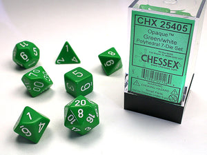 Chessex Dice: Opaque Polyhedral Set Green/White (7)