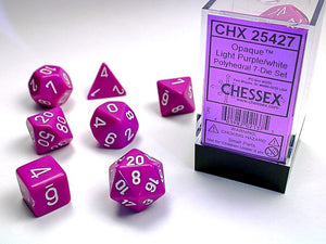 Chessex Dice: Opaque Polyhedral Set Light Purple/White (7)