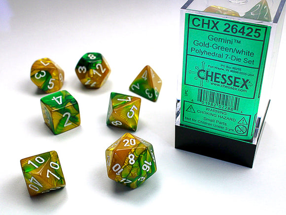 Chessex Dice: Gemini Polyhedral Set Gold Green/White (7)