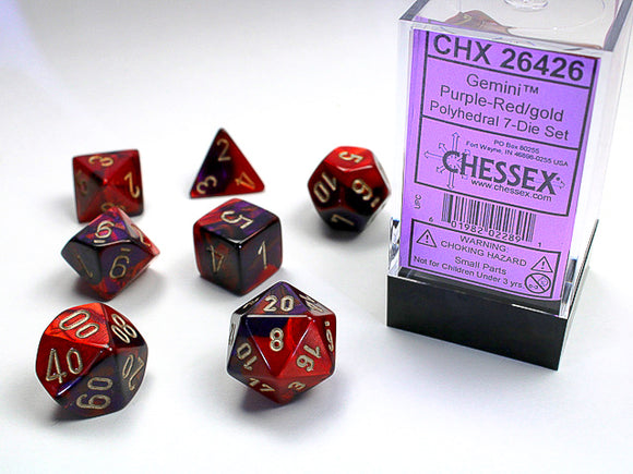 Chessex Dice: Gemini Polyhedral Set Purple Red/Gold (7)