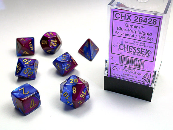 Chessex Dice: Gemini Polyhedral Set Blue Purple/Gold (7)