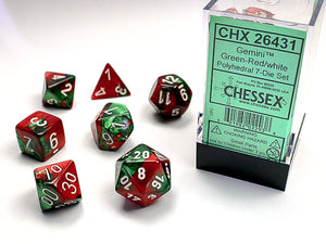 Chessex Dice: Gemini Polyhedral Set Green Red/White (7)