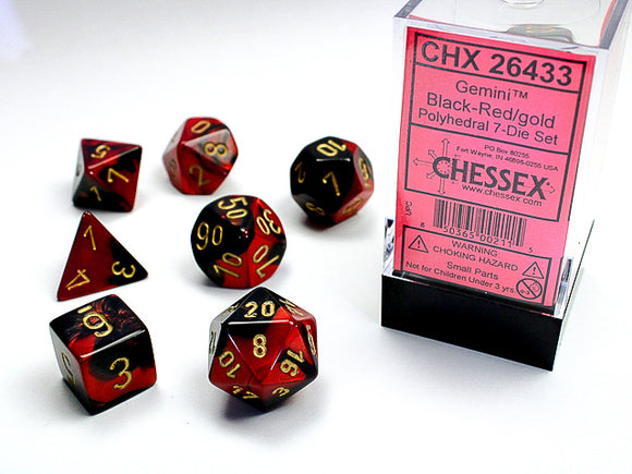 Chessex Dice: Gemini Polyhedral Set Poly Black Red/Gold (7)