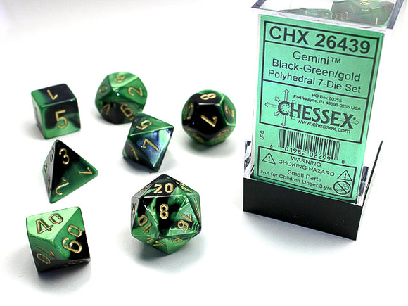 Chessex Dice: Gemini Polyhedral Set Poly Black Green/Gold (7)