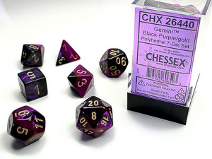 Chessex Dice: Gemini Polyhedral Set Poly Black Purple/Gold (7)