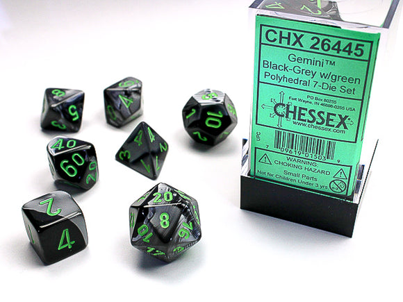 Chessex Dice: Gemini Polyhedral Set Poly Black Grey/Green (7)