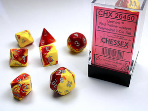 Chessex Dice: Gemini Polyhedral Set Poly Red Yellow/Silver (7)