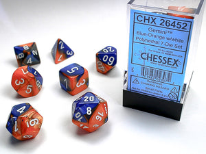 Chessex Dice: Gemini Polyhedral Set Poly Blue Orange/White (7)