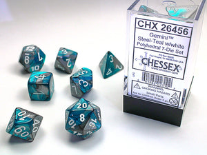 Chessex Dice: Gemini Polyhedral Set Poly Steel Teal/White (7)