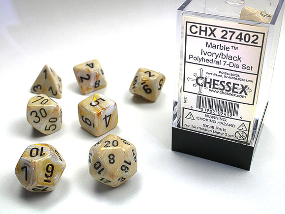 Chessex Dice: Marble Polyhedral Set  Ivory/Black (7)