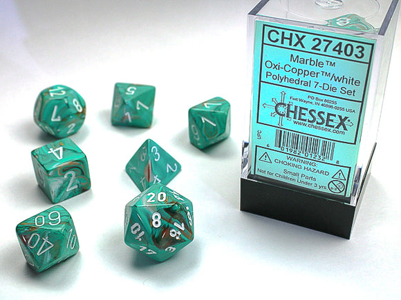 Chessex Dice: Marble Polyhedral Set Oxidized Copper/White (7)