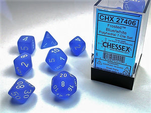Chessex Dice: Frosted Polyhedral Set Blue/White Set (7)