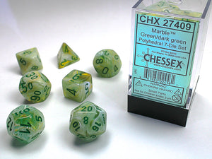 Chessex Dice: Marble Polyhedral Set Green/Dark Green (7)