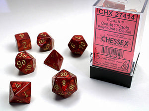 Chessex Dice: Scarab Polyhedral Set Scarlet/Gold (7)
