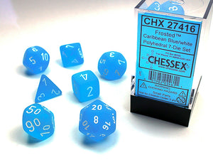 Chessex Dice: Frosted Polyhedral Set Caribbean Blue/White (7)
