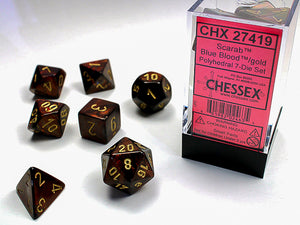 Chessex Dice: Scarab Polyhedral Set Blue/Blood/Gold (7)