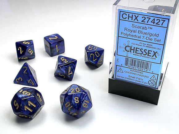 Chessex Dice: Scarab Polyhedral Set Royal Blue/Gold (7)