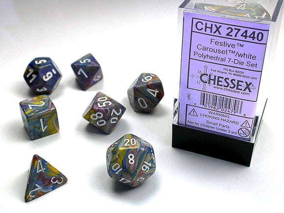 Chessex Dice: Festive Polyhedral Set Carousel/White (7)