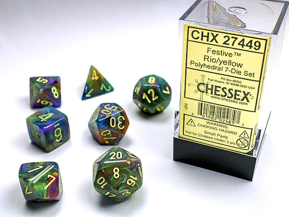 Chessex Dice: Festive Polyhedral Set Rio/Yellow (7)
