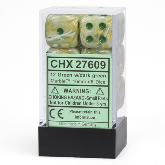 Chessex Dice: Marble - 16mm D6 Green/Dark Green (12)