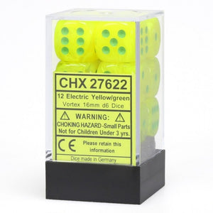 Chessex Dice: Vortex - 16mm D6 Electric Yellow/Green (12)