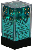 Chessex Dice: Borealis - 16mm D6 Teal/Gold (12)