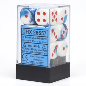 Chessex Dice: Gemini - 16mm D6 Astral Blue/White/Red (12)